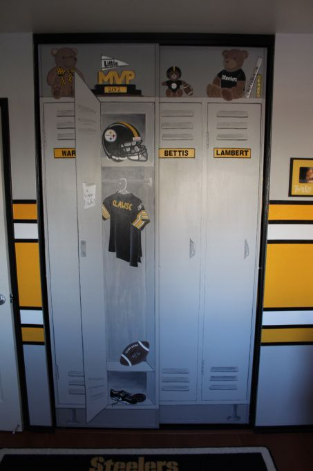 Steeler football room, Steelers football theme room. Included bears to make it more child like. All stripes are painted (not a decal). Lockers are also custom painted, Had artist friend paint closet to make it look like a real life locker., Boys Rooms Design