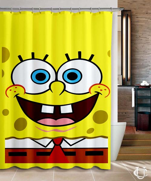 Sponge Bob Square Pants Design Cute Shower Curtain Cheap And Best Quality.  *100%
