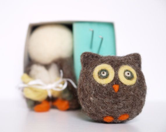owl - needle felting kit for beginnersOwls Kits, Details Tutorials, Felt Ideas, Felt Owls, Adorable Owls, Handmade Gift, Needle Felting, Christmas Gift, Beginners Needle