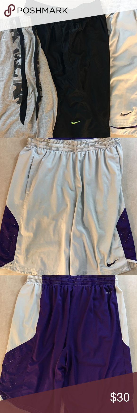 ♻️ Nike Athletic Shorts Bundle Size Large Bundle of athletic Shorts  2 pairs of Nike  1 pair everlast cotton Shorts  Size - Large  excellent Condition nike Shorts Athletic