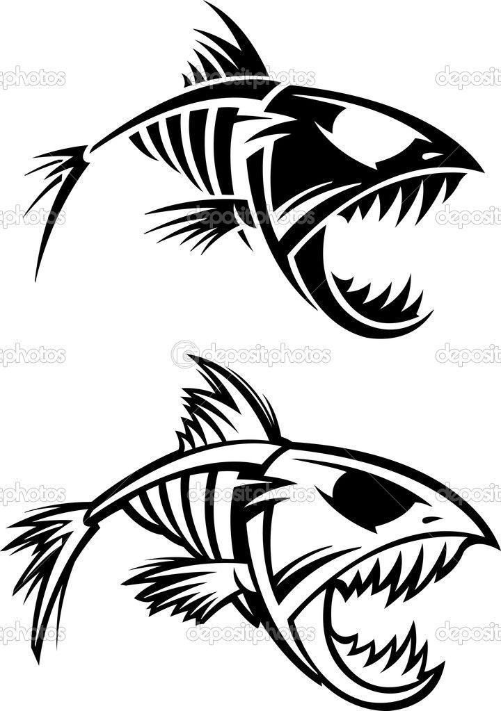 Piranha skeleton tattoo - photo#47
