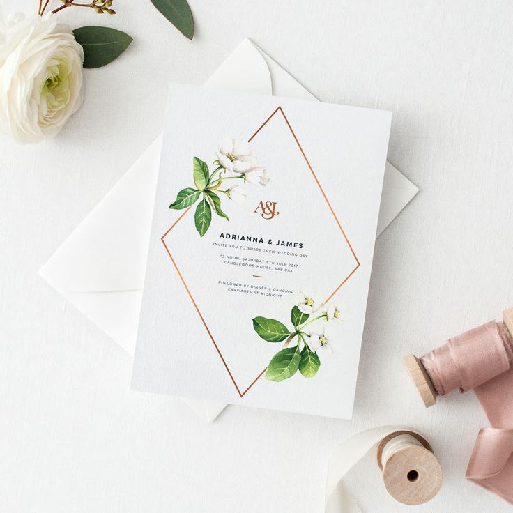 White Floral Wedding Invitation Suite Sample Set - Chic White Flowers with Copper Foil Detail & Monogram Wedding Invitation by TheIDoPaperCo on Etsy https://www.etsy.com/uk/listing/515856098/white-floral-wedding-invitation-suite