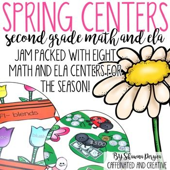 Spring Centers are perfect for spring time interactive learning and cover both ELA and math concepts! These centers are meant to be printed in color, but can be also printed in grayscale to save ink. These centers are geared towards second graders, but can be used for superstar first graders or third graders who may be struggling.