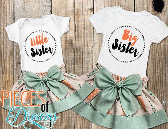Big sister Little Sister Outfit / Shabby chic baby outfit / Glitter Gold Birthday Outfit / Photo Prop