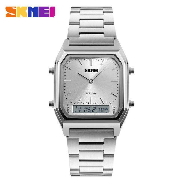 2017 New Top Brand Luxury Mens Watches Golden Square Analog-Digital Wristwatch Waterproof Sport Wrist Watches Relogio 1220