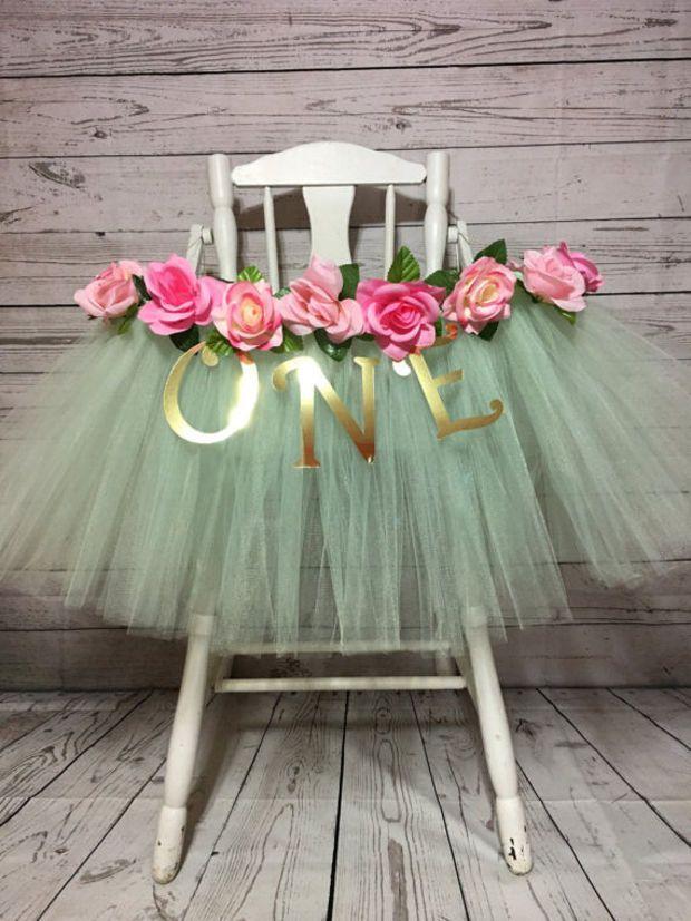 High Chair Tutu - High Chair Skirt - Mint and Pink Highchair tutu - Highchair skirt - High Chair Skirt - 1st Birthday- High Chair Tutu