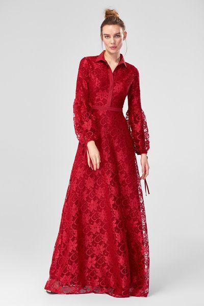 086fde984c9e7f bordo-dantel-abiye-elbise trendyolmilla