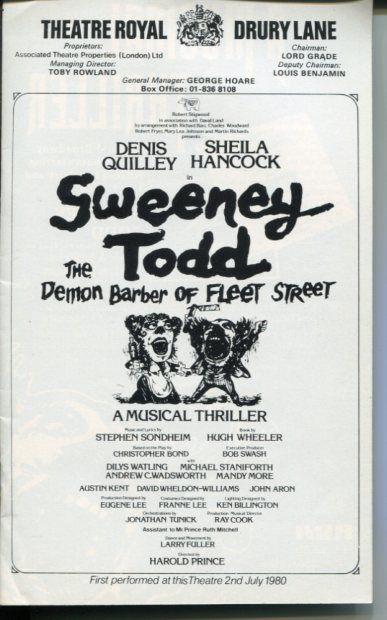 Sweeney Todd 1980 Denis Quilley Sheila Hancock Stephen Sondheim