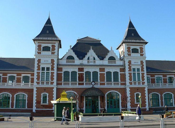 Entrance of Tiszai railway station, Miskolc, Hungary.