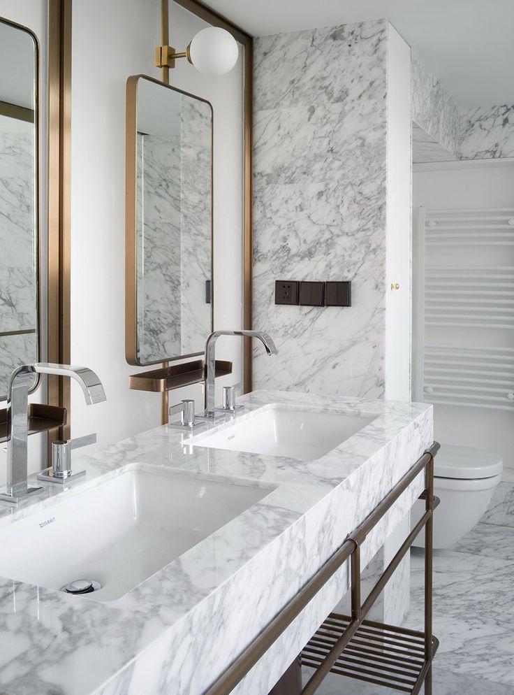marble bath, copper mirrors