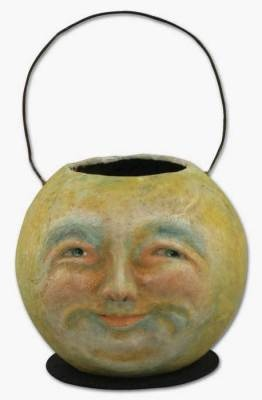 Antique Moon Candy Bucket. Among my favorite Halloween items are those old paper pulp pumpkins and baskets.