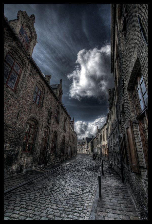 Veurne Street Belgium.  Narrow Streets