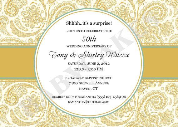 29 best 50th wedding invite images on Pinterest 50th wedding