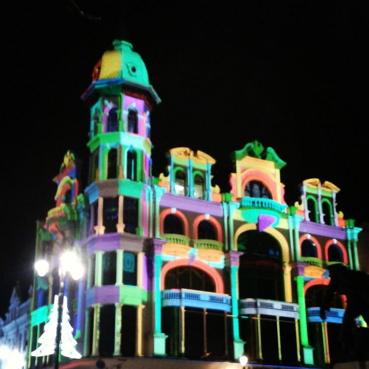 Austins transformed into art preparing for the start of Lumiere Derry~Londonderry on Thursday!