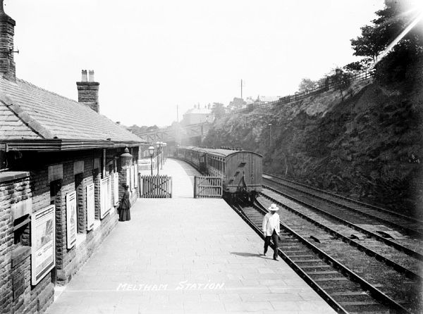 Meltham station 1910. This railway was built to help workers get from Huddersfield to Meltham Mills. The trains also carried goods.