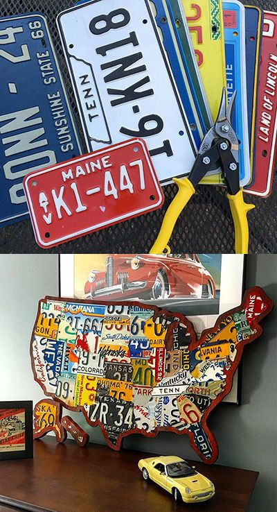 Best License Plate Art And Maps Images On Pinterest License - Us map license plate puzzle