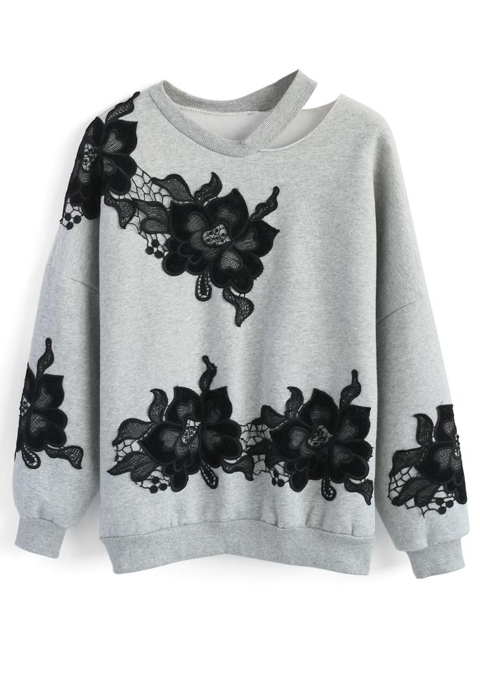 Mysterious Peony Top in Grey - New Arrivals - Retro, Indie and Unique Fashion