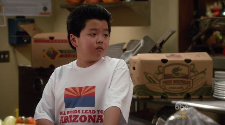 "Eddie (Hudson Yang) wears an All Roads Lead to Arizona t-shirt in the ""Doing it Right"" episode of Fresh Off the Boat (Season 2, Episode 17)."