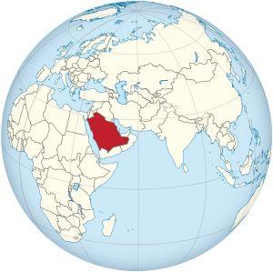 Saudi Arabia on the globe (Afro-Eurasia centered).svg
