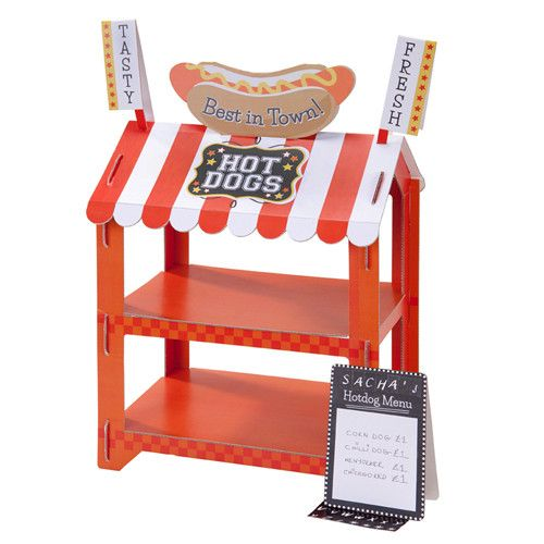 An amazingly cute and fun Hot Dog and Popcorn Stand. Our fully reversible stand will delight guests: you can either choose to display Hot Dogs or Popcorn. Stan