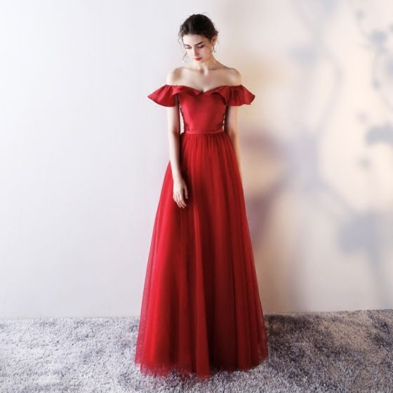 Chic / Beautiful Evening Dresses  2018 A-Line / Princess Off-The-Shoulder Backless Sleeveless Floor-Length / Long Formal Dresses