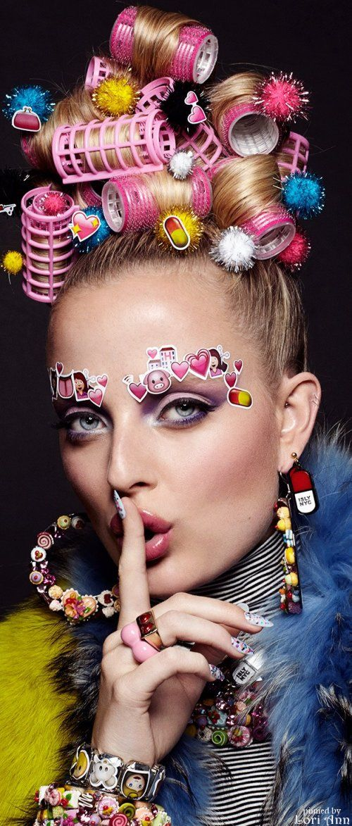 Emoji Girl Emoticon Beauty Editorial with Model Emily Steel by photographer Jamie Nelson
