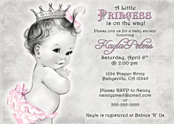 Vintage Baby Shower Invitation For Girl  Princess  by jjMcBean, $20.00