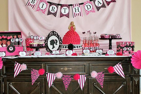 http://blowoutparty.com/blog/wp-content/uploads/2011/11/black-white-pink-barbie-dessert-table.jpgBarbie Inspiration, Barbie Theme, Birthday Parties, Theme Parties, Barbie Birthday, 1St Birthday, Barbie Parties, Parties Ideas, Birthday Ideas
