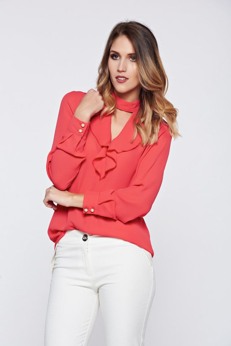 """PrettyGirl coral elegant voile fabric women`s blouse with v-neckline, women`s blouse, sleeves are fastened with buttons, """"V"""" cleavage, long sleeves, voile fabric"""
