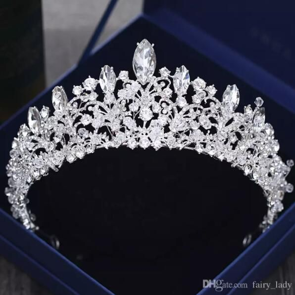 Gorgeous Princess 2018 Big Wedding Crowns Bridal Jewel Headpieces Tiaras For Women Silver Metal Crystal Rhinestone Baroque Hair Headbands Bride Veils Cheap Brid Bridal Jewels Silver Bridal Jewellery Wedding Crown