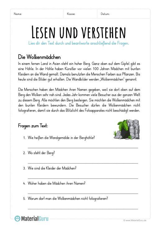Lesen Und Verstehen Lesen Unterricht Lesen Deutsch Lesen