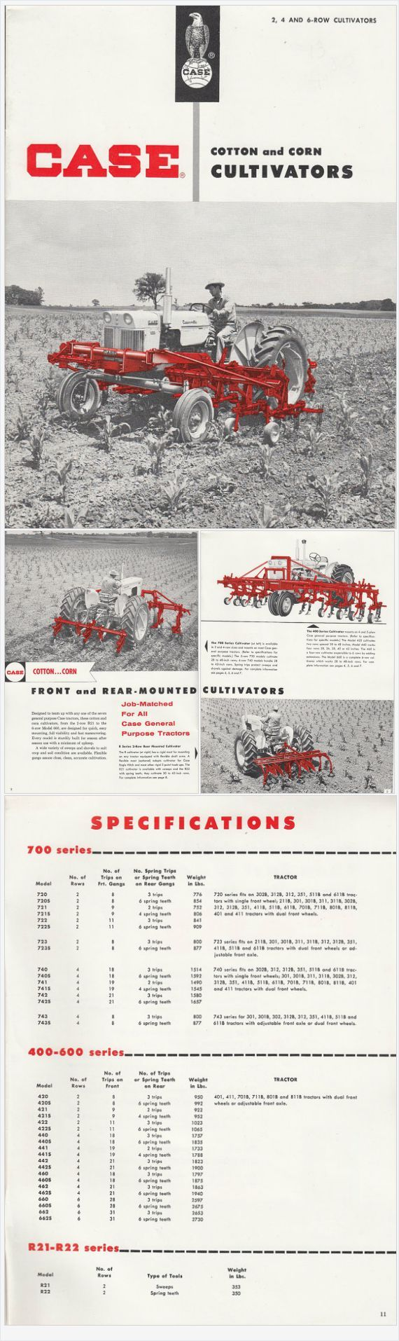 Vintage J I Case Company Cotton & Corn Cultivators Brochure Series Model R21,  R22 and 700