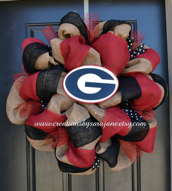 University of Georgia Wreath - Georgia Bulldogs Wreath - Burlap Collegiate Wreath on Etsy, $90.00