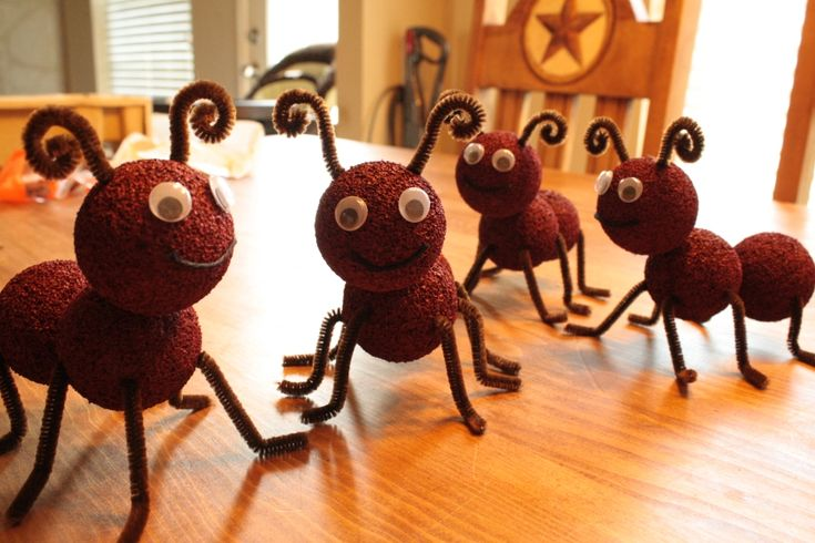 Party ants- (for 1 ant) 3 styrofoam balls, 2 toothpicks, 2 pipe cleaners (cut in 4ths), acrylic paint, 2 googley eyes, and yarn for mouth. Paint the balls, allow to dry, stick them together with toothpicks, insert pipecleaners into sides, stick on google eyes and yarn- and done! (tip: don't use spray paint, it melts them!)