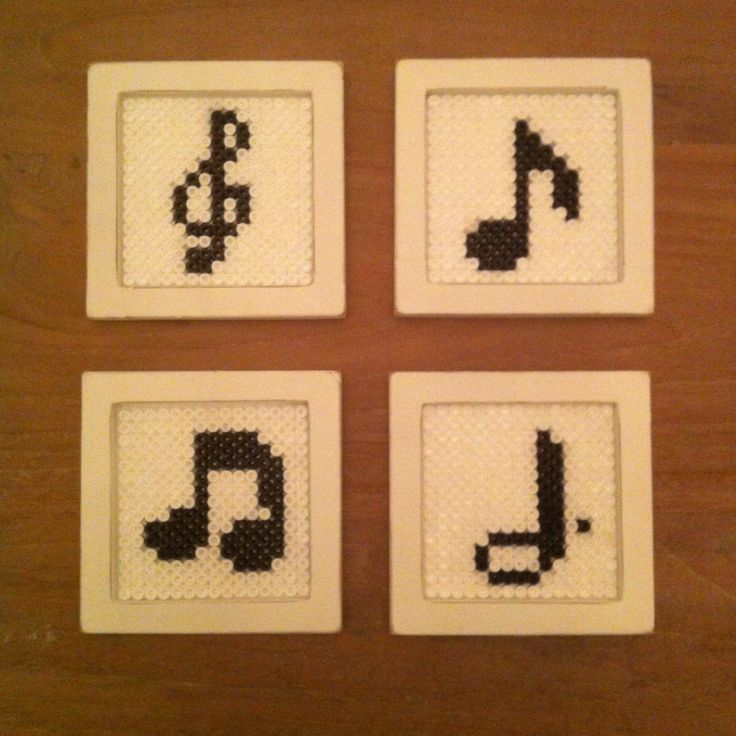 Music notes coasters made of hama beads