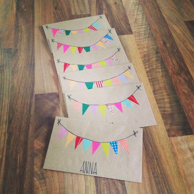 Einladungskarten Kindergeburtstag DIY washitape maskingtape