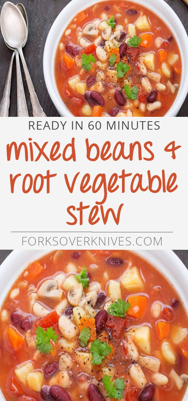 Mixed Beans and Root Vegetable Stew - Plant-Based Vegan Recipe