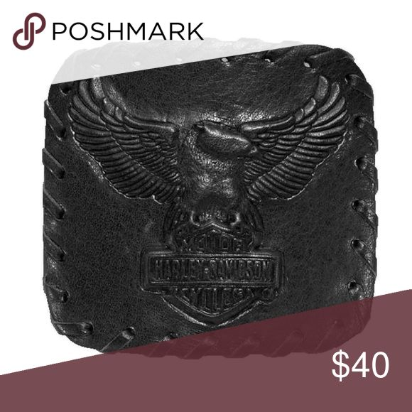 "Harley-Davidson® Men's Embossed Belt Buckle Made of 100% cowhide leather wrapped zinc alloy buckle Whip stitch detail around outer edge Embossed eagle graphics Fits any 1.5"" strap Measures: 2.625"" W x 3"" L Manufacturer Part Number: 97849-17VM Harley-Davidson Accessories Belts"