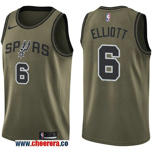 Men s Nike San Antonio Spurs  6 Sean Elliott Green Salute to Service NBA  Swingman Jersey 94ab8a521