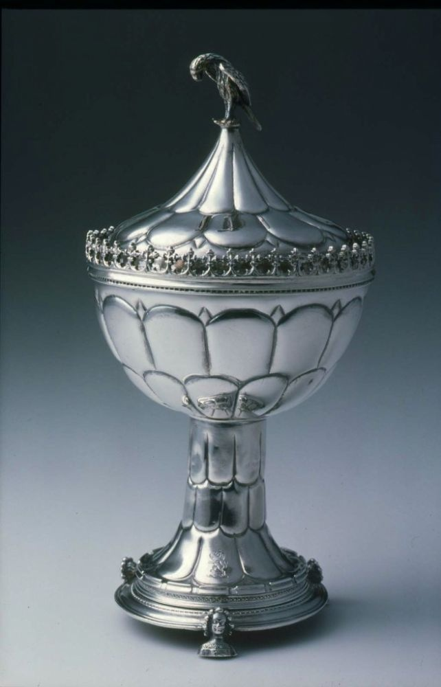College Cup. English. Unmarked, style of late 15th century. Silver, parcel gilt