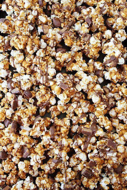 Butter Toffee Heath Popcorn on http://twopeasandtheirpod.com  Love this sweet treat!