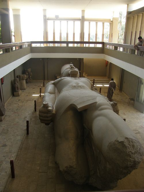 A colossal statue of Ramses II, in the Open-Air Museum at Memphis, Egypt. This statue is so huge that they left it on the ground and built the museum around it. We felt very small on the balcony surrounding it.