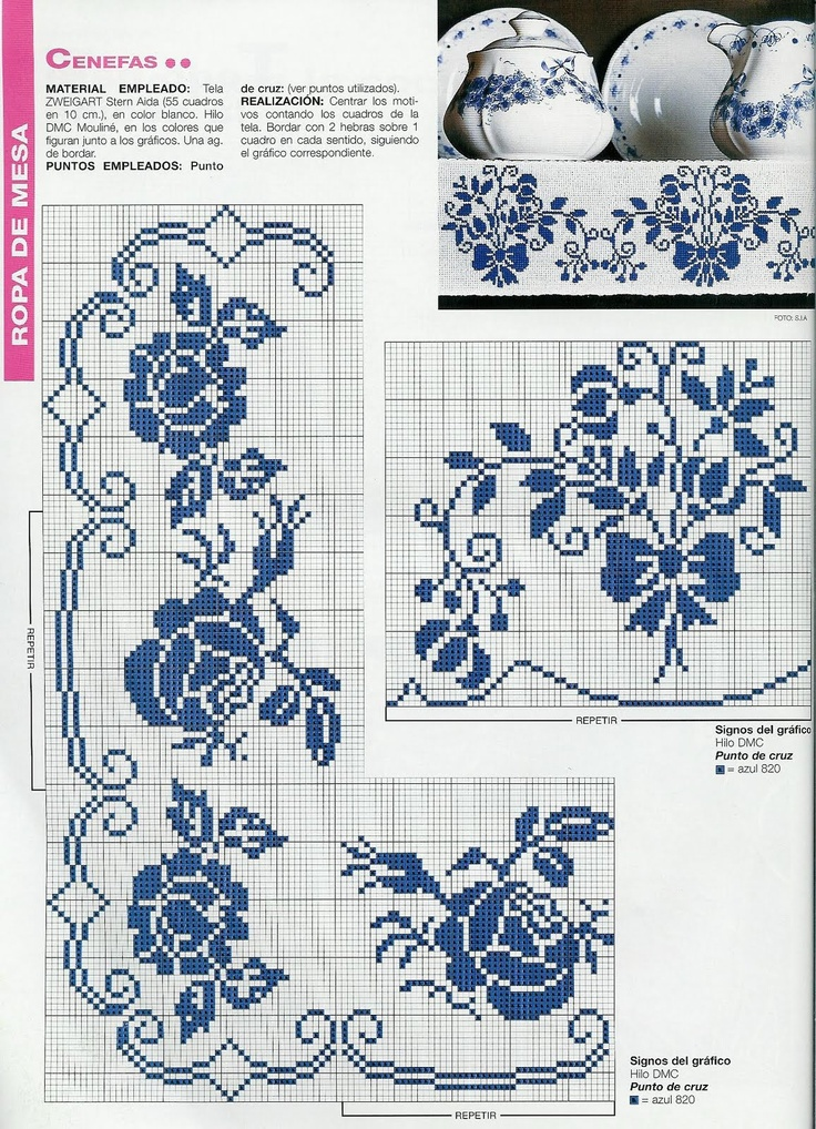 <3. Cross-stitch Blue Floral China