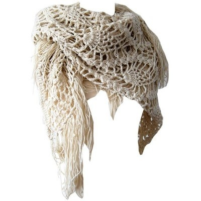 Beige V-Shaped Crochet Scarf from Bows & Bandits