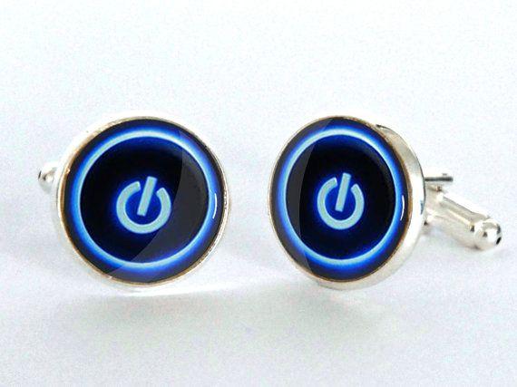 Computer Button Cufflinks - Computer power switch Icon Cufflinks - Nerd Accessories for Men - Geek Gift for Him - Gift idea for Boyfriend