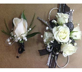 Black and Silver Corsage and Bout Set in SmyrnaGA, Floral Creations Florist