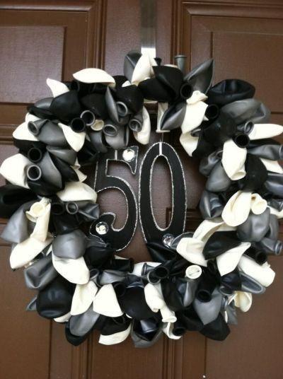 Balloon Wreath - Fun and Creative 50th Birthday Party Ideas - Photos