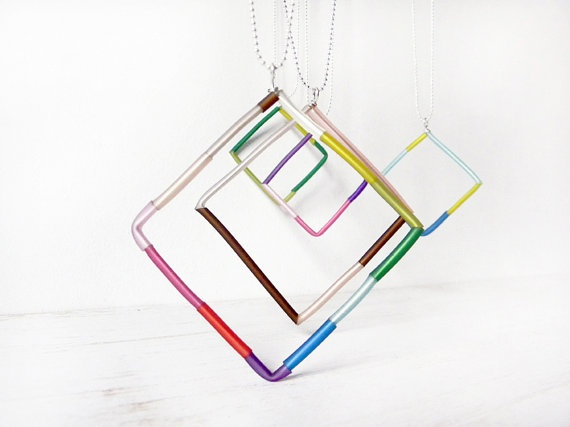 Long Square pendant colorful geometric chain by BlackRedDots, $19.00