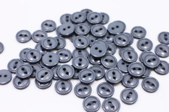 Dark Gray Four Holes Sewing Button,Blouse Button,Stylish Button,Small Button,11.5mm Dark Grey Striped Pattern Button Business Shirt Button