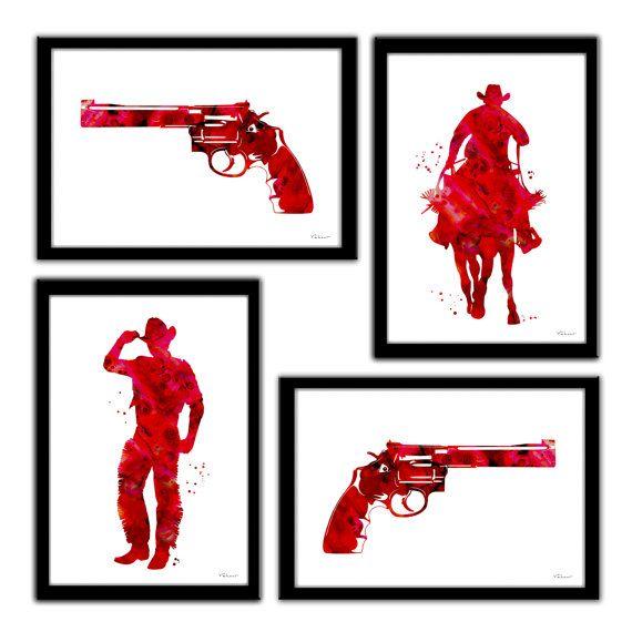 Cowboy print cowboy art western art print red by FluidDiamondArt